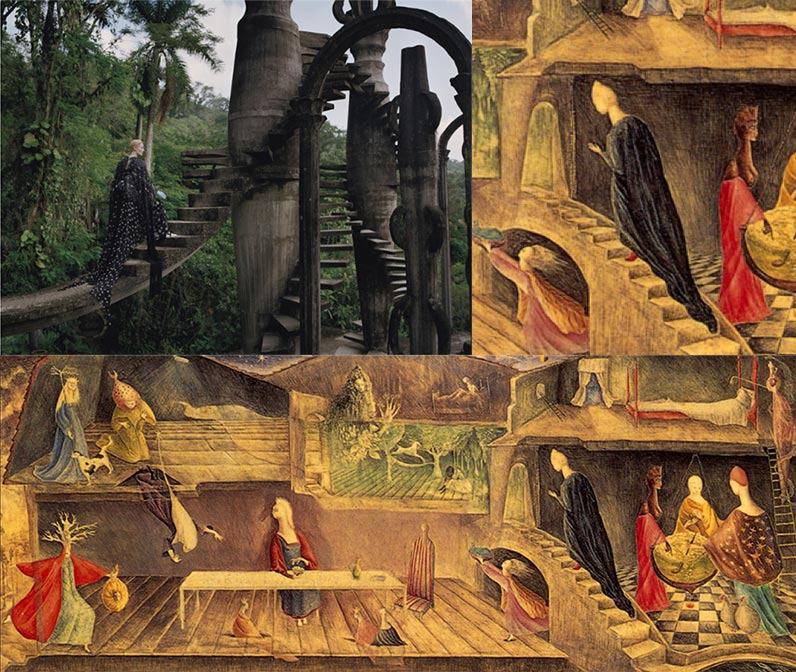 Top left: Tilda Swindon for W Magazine, 2013 Top right and bottom: The House Opposite, Leonora Carrington, c. 1945