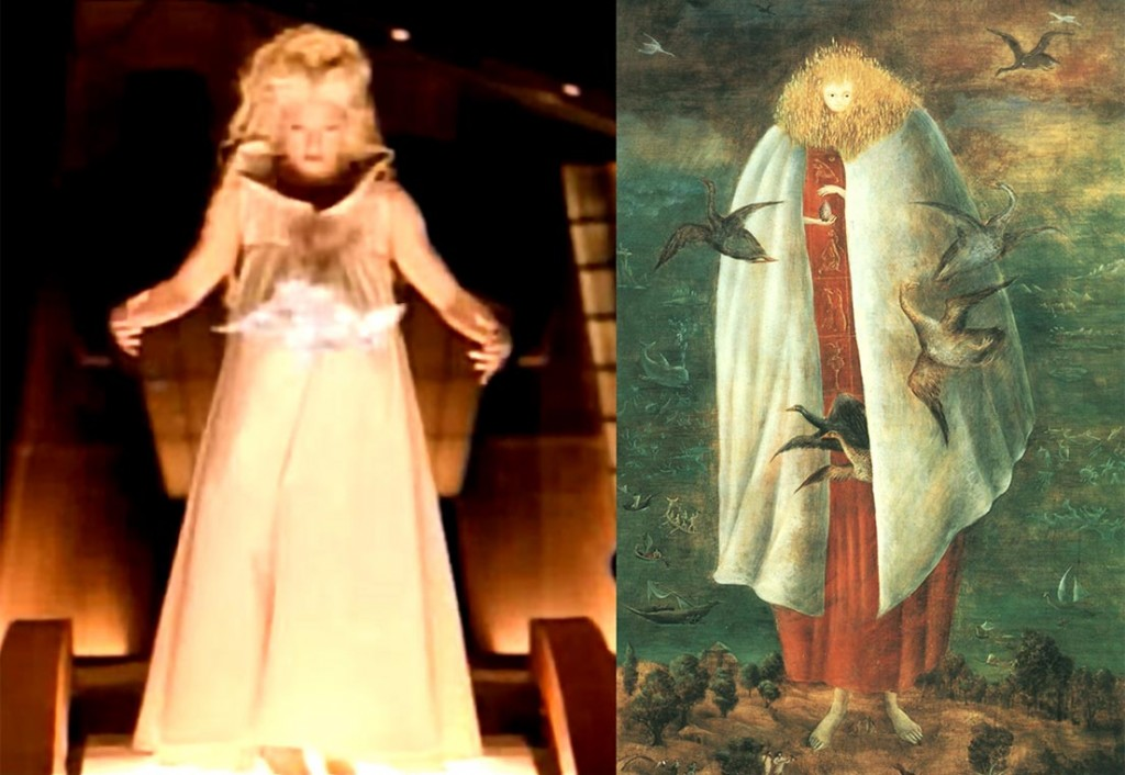 """Left: Madonna in """"Bedtime Story,"""" 1995 Right: The Giantess, Leonora Carrington, c. 1947"""