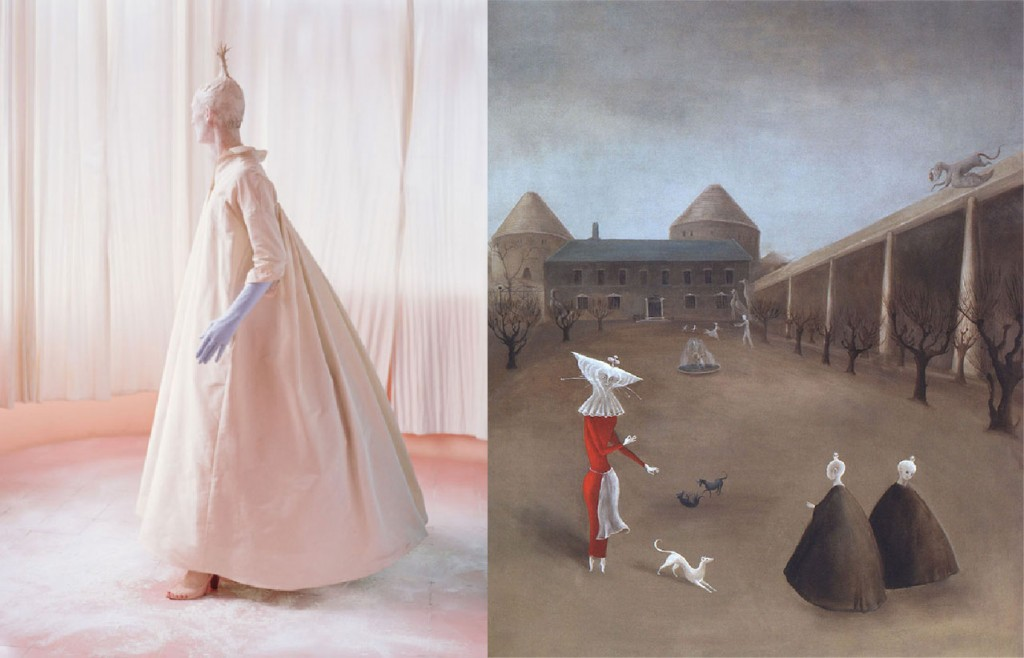 Left: Tilda Swindon for W Magazine, 2013 Right: Darvault, Leonora Carrington, c. 1950