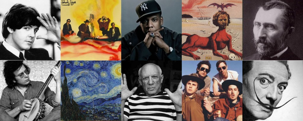 Clockwise: Paul McCartney, Arcadian Mountain Album Cover-Black Lips, Cover, Jay Z, Shirley Temple, The Youngest, Most Sacred Monster of the Cinema in Her Time-Salvador Dali 1939, Vincent Van Gogh, Salvador Dali, Black Lips, Pablo Picasso, Starry Night-Vincent Van Gogh 1889, Don Mclean.