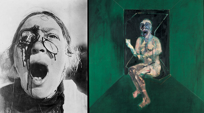 "Left: Still from ""Battleship Potemkin,"" directed by S.M. Eisenstein, 1925. Right: Study for the Nurse (detail), Francis Bacon, 1957"