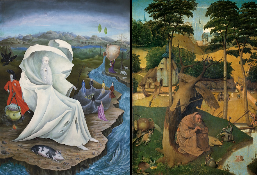 Left: The Temptation of St. Anthony, Hieronymus Bosch, c 1500-1525; Right: The Temptation of St. Anthony, Leonora Carrington, 1947