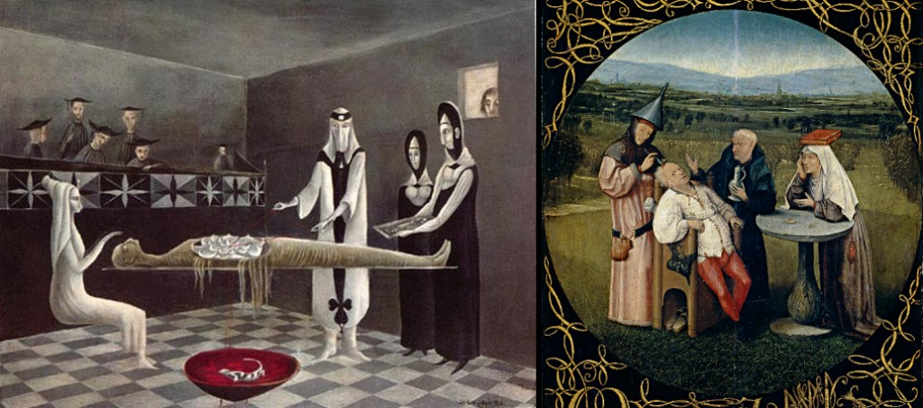 Left: Adieu Ammenotep, Leonora Carrington, 1960; Right: The Stone Operation, Hieronymous Bosch, c. 1494