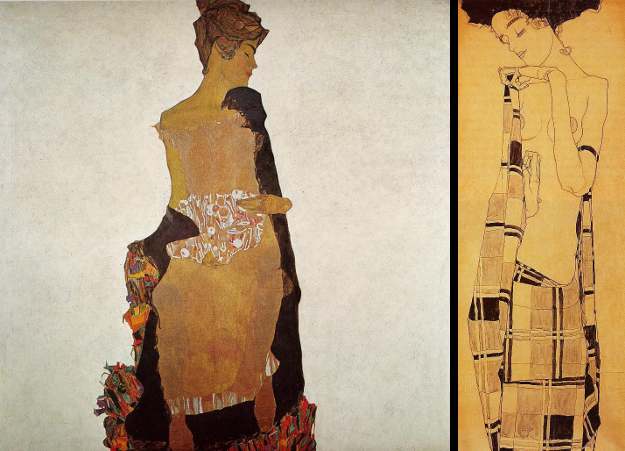 Left: Portrait of Gerti Schiele. Right: Standing Girl in a Plaid Garment. Both by Egon Schiele, 1909.