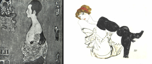 Left: Portrait of Wally, Gustav Klimt, 1916. Right: Woman in black stockings (Valerie Neuzil), Egon Schiele, 1913.