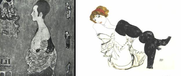 Left: Portrait of Wally, Gustav Klimt, 1916. Right: Woman in black stockings (Valerie Neuzil), Egon Schiele, 1913.