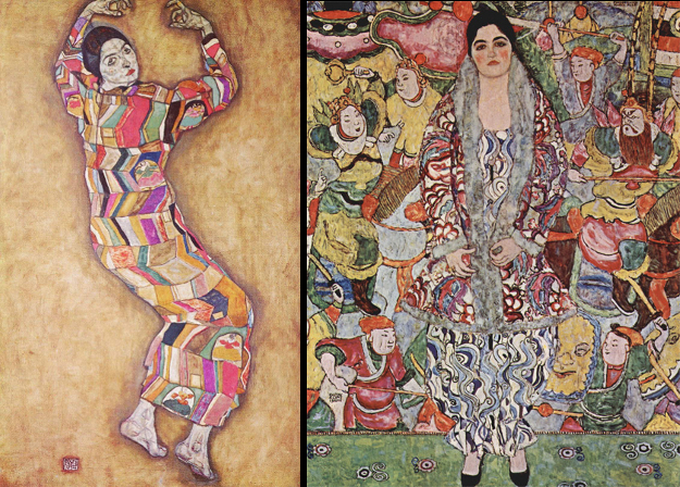 Left: Portrait of Friederike Maria Beer-Monti, Egon Schiele, 1914 Right: Portrait of Friederike Maria Beer-Monti, Gustav Klimt, 1916