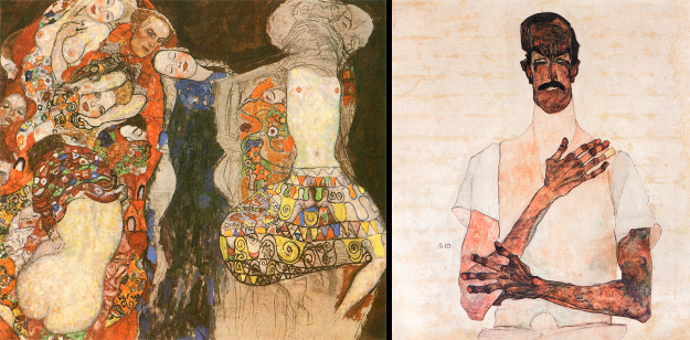 Left: The Bride, Klimt, 1917; Right: Portrait of Dr. Erwin von Graff, Schiele, 1910.