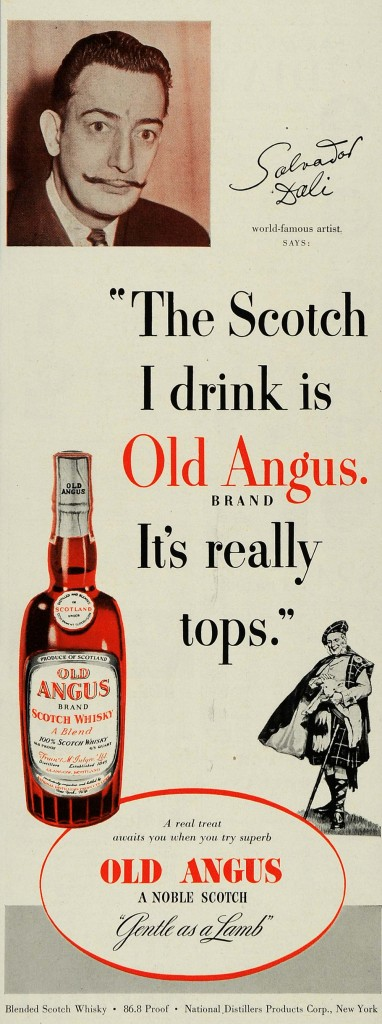 Salvador Dalí for Old Angus scotch whisky, 1951.