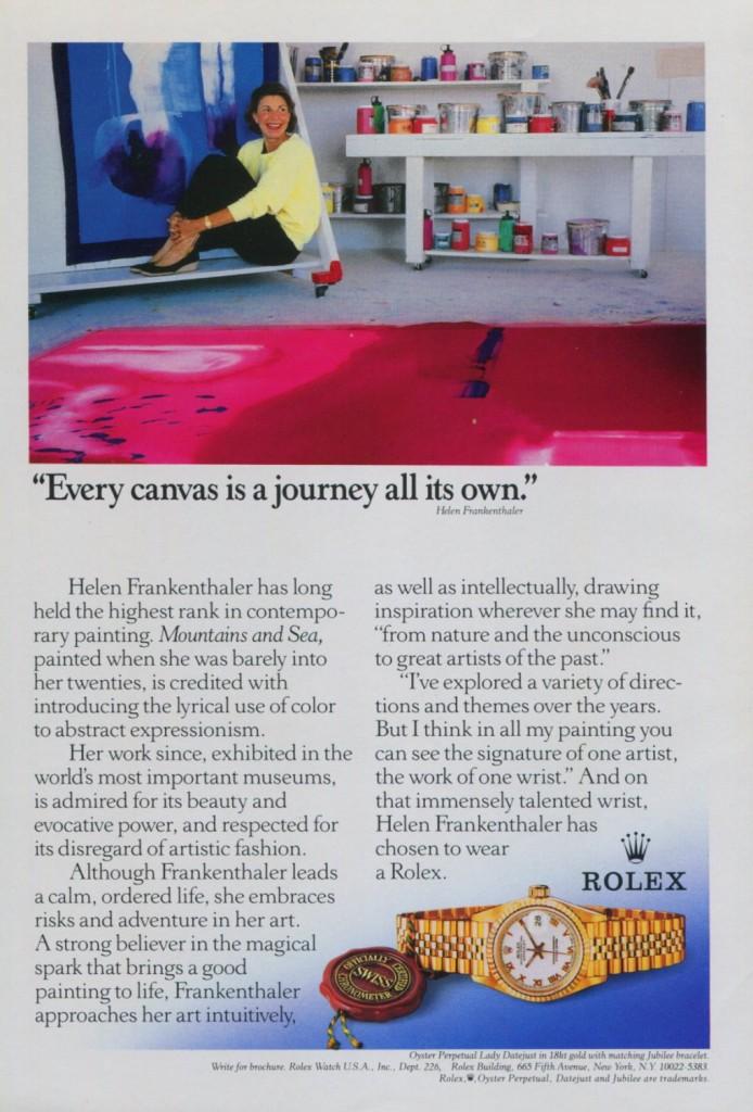 Helen Frankenthaler for Rolex, 1990.