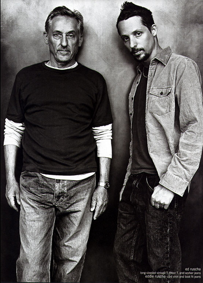 Ed Ruscha (left) and son, Eddie Ruscha (right), for Gap, 2002. Image via Ad Forum.