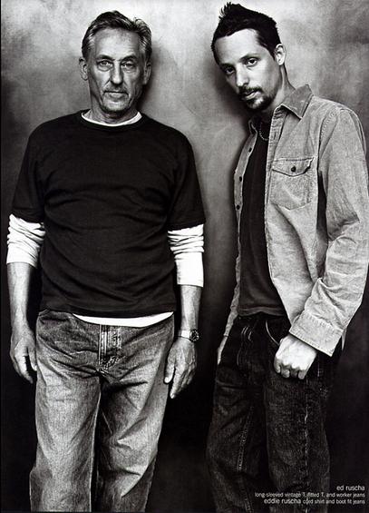 Ed Ruscha (left) and son, Eddie Ruscha (right), for Gap, 2002. Image via Ad Forum.