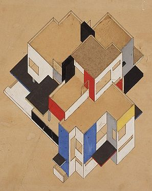 Theo van Doesburg <i>Contra-Construction Project (Axonometric) (1923)</i> shows De Stijl paintings and their application in the field of architecture