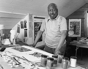 Jacob Lawrence in his studio