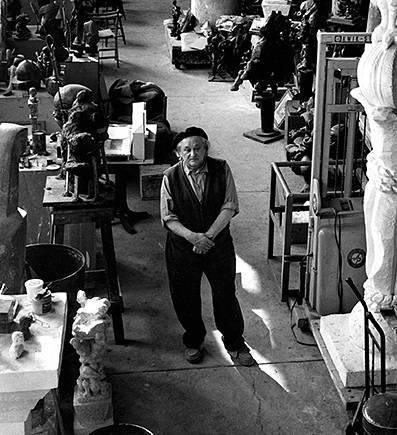 Jacques Lipchitz at his art studio (1967)