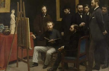 Fantin-Latour's homage to the charisma of Manet was recorded in the painting <i>A Studio at Batignolles</i> (1870)