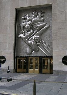 <i>News</i> installed above the main entrance of the Associated Press Building at 50 Rockefeller Plaza