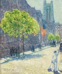 Childe Hassam's <i>Just Off the Avenue, Fifty-third Street</i> (1916) shows an American setting, in the Impressionist Style