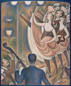 Georges Seurat's <i>Le Chahut</i> (1889-1890) uses a limited palette and notably flattens the pictorial plane.