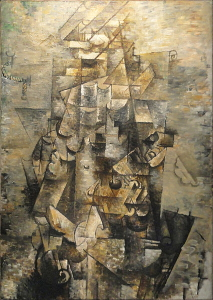 In Braque's <i>Man with a Guitar Céret</i>, (1911-1912) various real details - six lines, a round circle, and a musical scroll - make the subject recognizable.