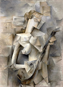 Left unfinished, Pablo Picasso's <i>Girl with a Mandolin (Fanny Tellier)</i> (1910) is a transitional work between early Cubism and Analytic Cubism.