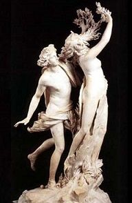 Bernini's <i>Apollo and Daphne</i> (1622-1625) depicts a scene from Greek mythology where the nymph Daphne beseeched her father to turn her into a tree to evade the god Apollo's pursuit.