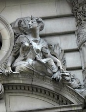 This decorative element from the Beaux-Arts Gotham Hotel (1905) in New York City depicts Diana, goddess of the hunt. Statuary on buildings such as this communicated agriculture and commerce, the primary sources of <i>fin de siècle</i> wealth.