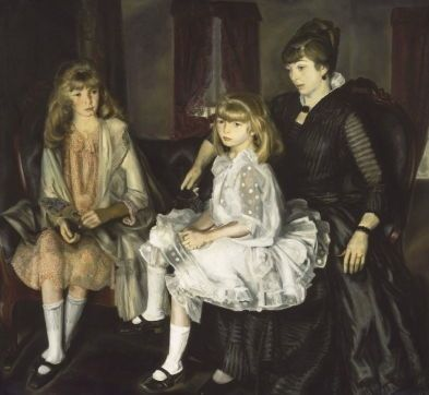 "<i>Emma and Her Children</i> (1923) Museum of Fine Arts, Boston. In a letter to Henri, Bellows described a technical innovation that allowed him a new-found freedom akin to that of drawing. As the MFA Boston records it: ""By laying out the composition in two colors at the outset, as seen in the purple and orange that dominate the study for this portrait, Bellows achieved 'the fresh first excitement' of the composition. Seeking to emulate the spontaneity of Renoir and the French Impressionists and his teacher Henri, Bellows hoped to establish the essential idea of the composition in one day of painting""."