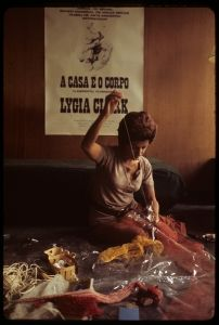 "Lygia Clark in her studio working on <i>Arquitetura biológica II</i> (Biologic architecture II), Cité internationale des arts, Paris, 1969 (photo by Alécio de Andrade, courtesy Associação Cultural ""O Mundo de Lygia Clark,"" Rio de Janeiro)"