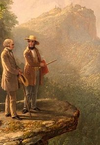 Asher Brown Durand pays tribute to Cole in this painting <i>Kindered Spirits</i> (1849) where Cole is standing with poet William Cullen Bryant overlooking a spectacular view.