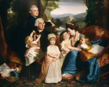 <i>The Copley Family</i> (1777). Copley's family portrait records his joy at being reunited with his family who had joined him in London (from Boston). The artist himself is shown turning away from a sheaf of sketches to look directly at the spectator.