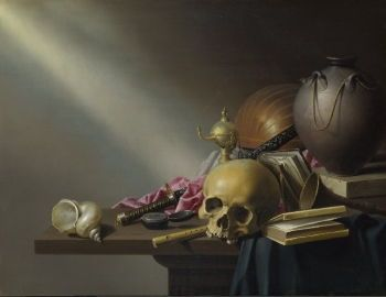 Harmen Steenwyck's <i>Still Life: An Allegory of the Vanities of Human Life</i> (c. 1640) exemplifies not only the genre but reflects the preferences of Leiden, including books and musical instruments to emphasize human knowledge and art.