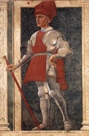 Andrea del Castagno's <i>Farinata degli Uberti</i> (c.1450) depicts a Florentine military commander, standing partially outside the painted niche that frames him.