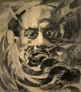Růžena Zátková's <i>Portrait of Marinetti</i>, painted between 1915-21, (the artist did not date her works), reflects the influence of both Futurism and Orphism.