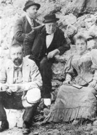 Gaudí (bottom left), his father (center), doctor, and niece Rosa at Montserrat, 1904