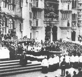 Gaudí's funeral in the Sagrada Família, Barcelona, 12 June 1926
