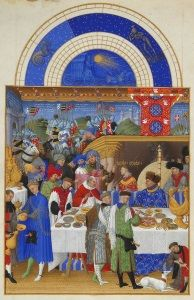 A page from the Limbourg brothers' <i>Les Tres Riches Heures du Duc de Berry</i> (1412-1416) shows the Duke of Berry in patterned blue robes on the right at a New Year's gathering exchanging gifts.
