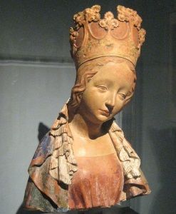 Bust of the Virgin, Bohemia (c. 1390-1395), a terracotta work with polychrome, is a notable example of International Gothic style's elegant figurative treatments.