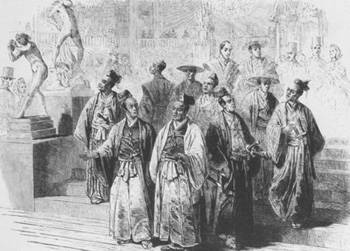 <i>The International Exhibition of 1862 -The Japanese Embassy at the International Exhibition</i>, from <i>The Illustrated London News</i> (May 24, 1862) depicts a Japanese delegation arriving at the International Exhibition.