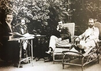 Joseph Maria Olbrich(left), unknown, Koloman Moser, and Klimt (1898)