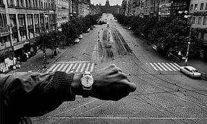 <i>Invasion 68, Prague (Koudelka asked a passerby to show the exact time when Soviet troops invaded Prague)</i> (1968)
