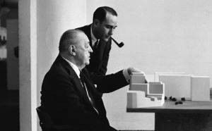 Mies and Herbert Greenwald in Chicago examining a model of Lafayette Park for Detroit (1956)