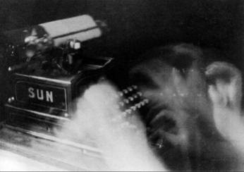 "Bringing movement and vitality to the still photograph, Anton Bragaglia's <i>The Typist</i> (1913) shows off his ""photodynamism"" technique to its full effect."