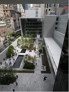 MoMA's popular sculpture garden was originally designed by Barr and the Architecture curator John McAndrew and subsequently redesigned by architect Philip Johnson in 1953. It has had many iterations over the last half century.