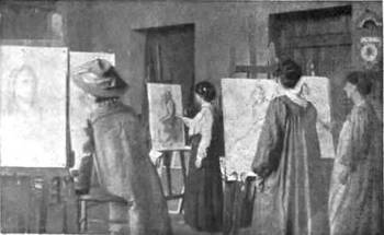 Ladies at work at the Newlyn Art School under the direction of Mrs. Stanhope Forbes (1910) from <i>Every Woman's Encyclopaedia</i>