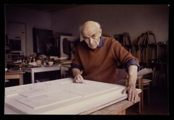 Photograph of Nicholson in his studio by Felicitas Vogler