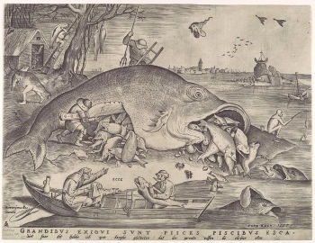 Bruegel the Elder's <i>Big Fish Eat Little Fish</i> (1557) is a haunting image depicting the Latin proverb, juxtaposing scenes from ordinary life, like the two fishermen in the boat, with the fanciful.