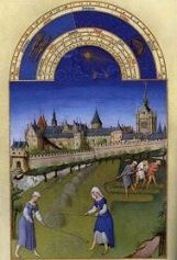 The Limbourg brothers' <i>June</i> in the <i>Très riches heures du Duc de Berry</i> (c. 1412-1416) exemplifies the strong sense of spatial composition, brilliant color, and observation of ordinary life.