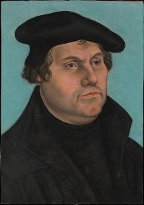 <i>Portrait of Martin Luther</i> by the Workshop of Lucas Cranach the Elder (1532) shows the austere and powerful presence of the man whose thought dominated Northern Europe.