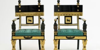 A pair of 1802 Egyptian Revival style chairs made by Thomas Hope, the English Regency designer.